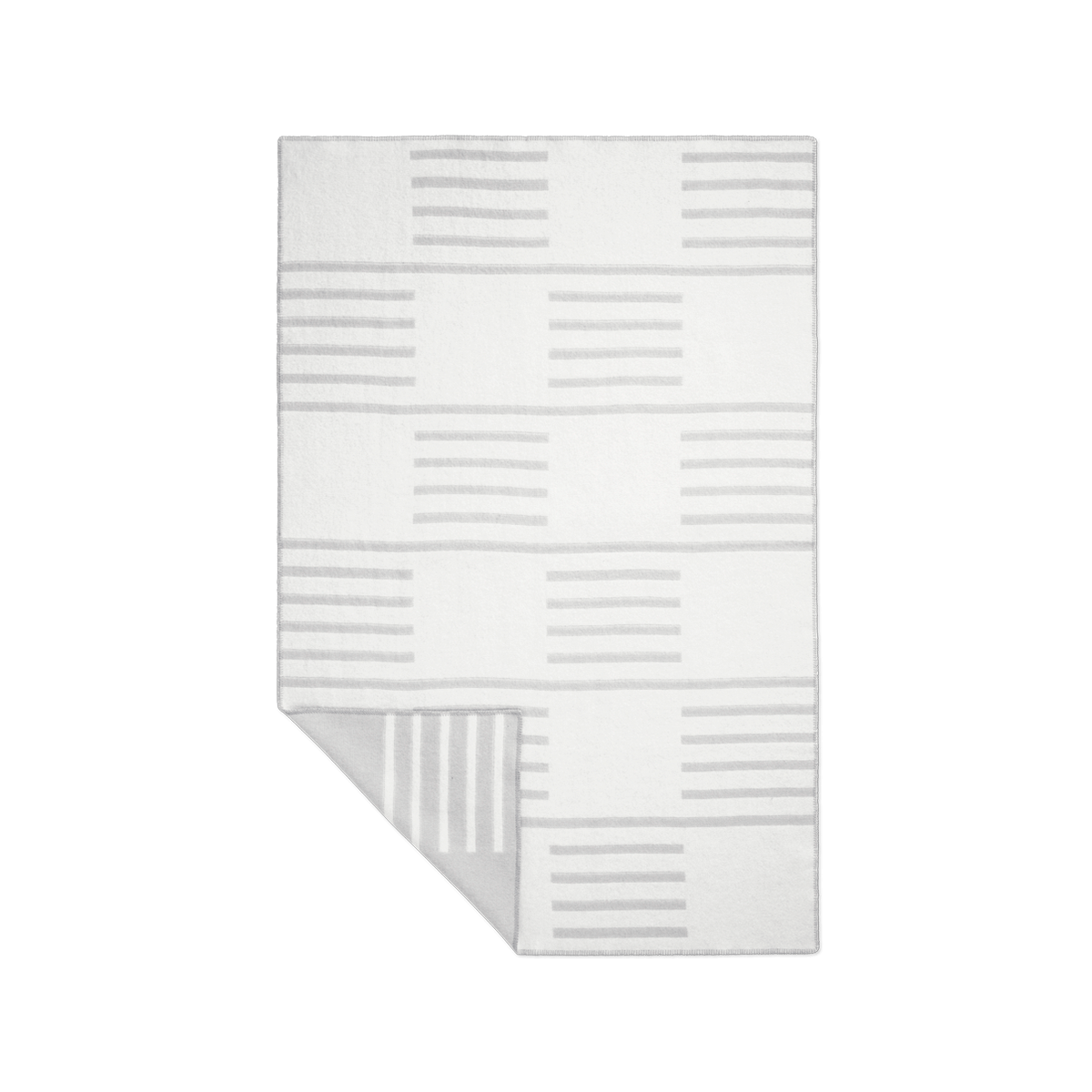 Product image of the wool blanket Classic in Gray with a white, striped pattern.