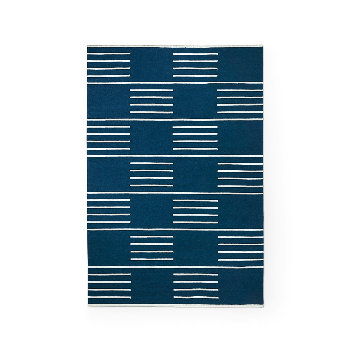 Product image of the flatweave rug Classic in the color Blue. On it is a pattern made out of stripes in a checkerboard fashion in a Cream color.
