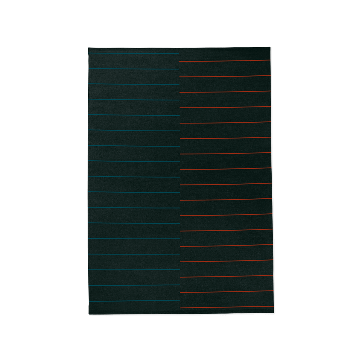 Product image of the flatweave rug Barber in the color Black. The rug has a striped pattern where the right side is red stripes and the left is blue.