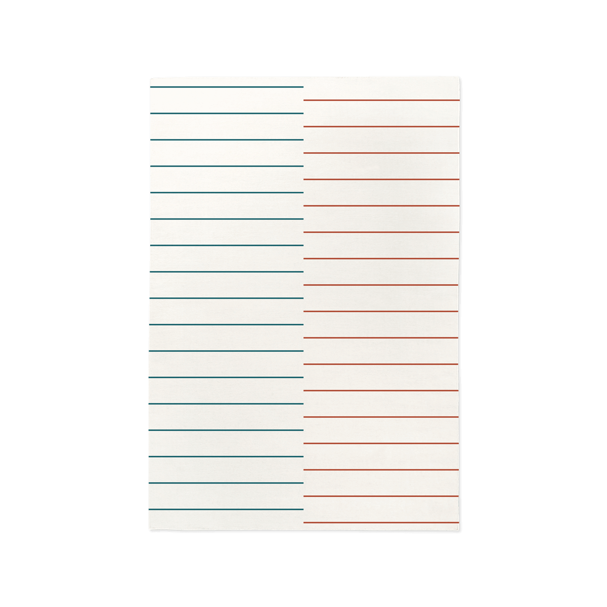 Product image of the flatweave rug Barber in the color Cream. The rug has a striped pattern where the right side is red stripes and the left is blue.