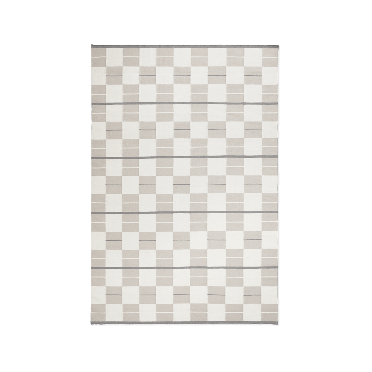 Product image of the flatweave rug Båstad in the color Cream. It is a patterned rug combining striped and squares in different beige hues.