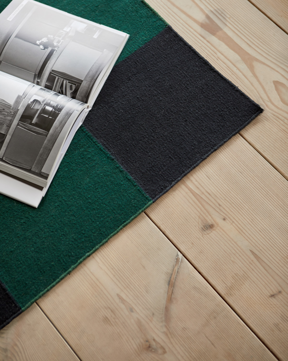 Close up of the Green/Black Square rug.