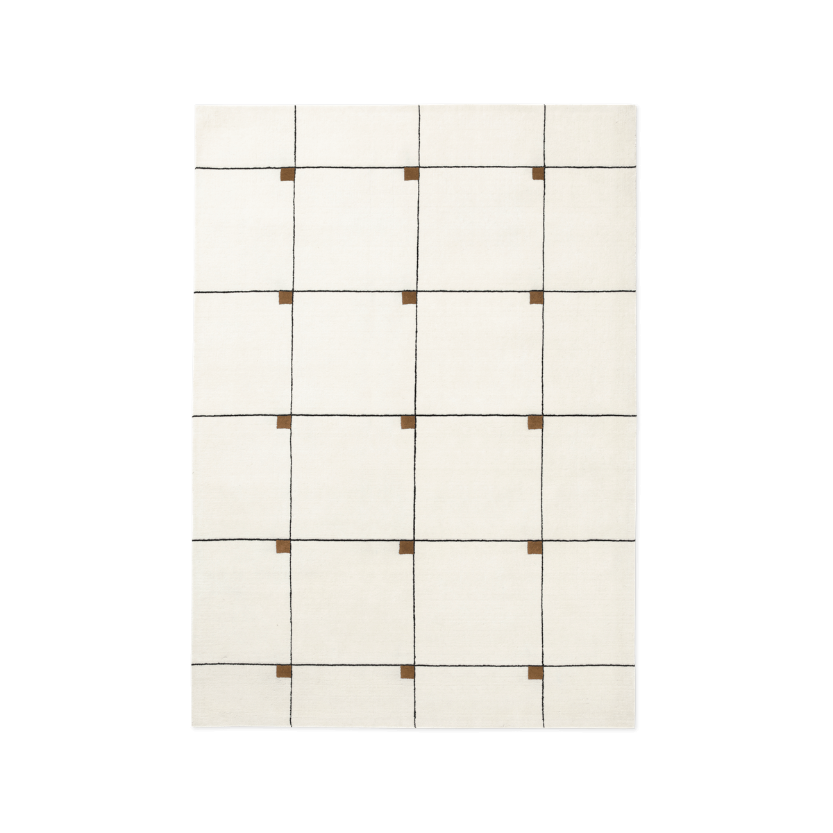 Product image of the plush rug Modern in the color Cream. The rug has a square pattern with small tobacco squares in the upper right corners of the larger squares.