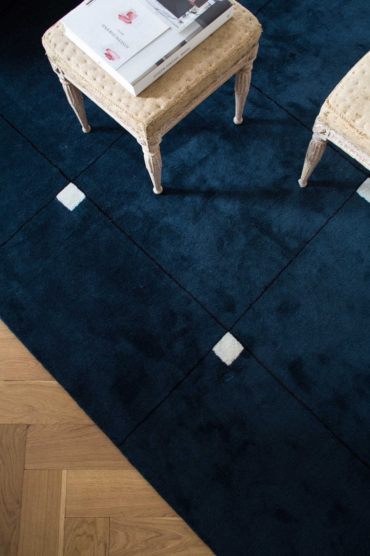 Close up of plush rug Modern in Teal.