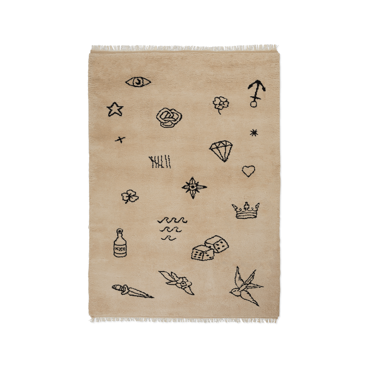 Product image of the shaggy rug Nomad in the color Sand. The rug has a irregular pattern of black classic sailor tattoos spread across it.