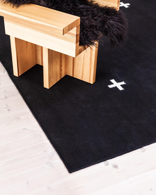 Closeup of a Black Plus rug.