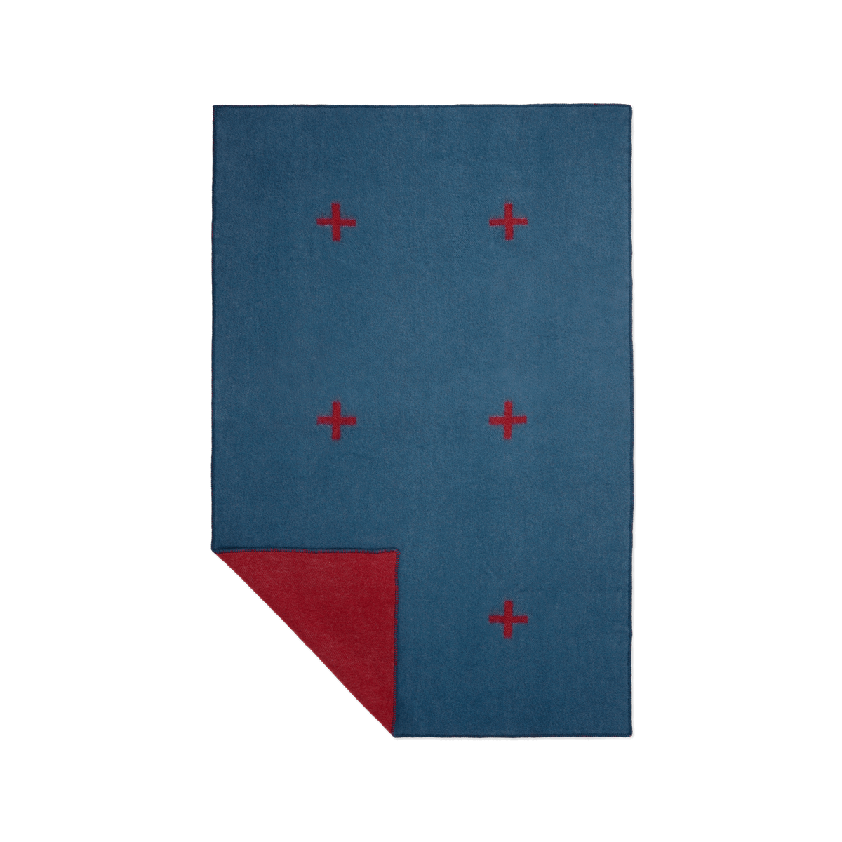 Product image of wool blanket Plus in the color blue with a graphic plus pattern in red.