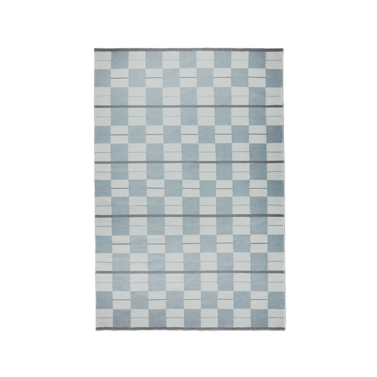 Product image of the flatweave rug Båstad in the color Blue. It is a patterned rug combining striped and squares in different blue hues.