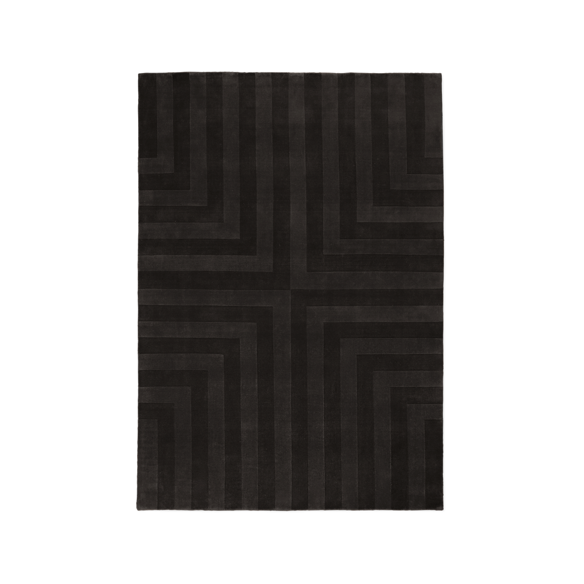 Product image of the plush rug Lux 3 in the color Coffee. The pile of the rug is cut in different heights creating a pattern across the rug.