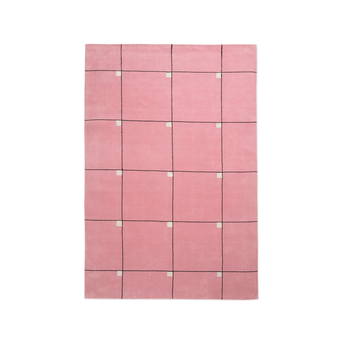 Product image of the plush rug Modern in the color Pink. The rug has a square pattern with small white squares in the upper right corners of the larger squares.