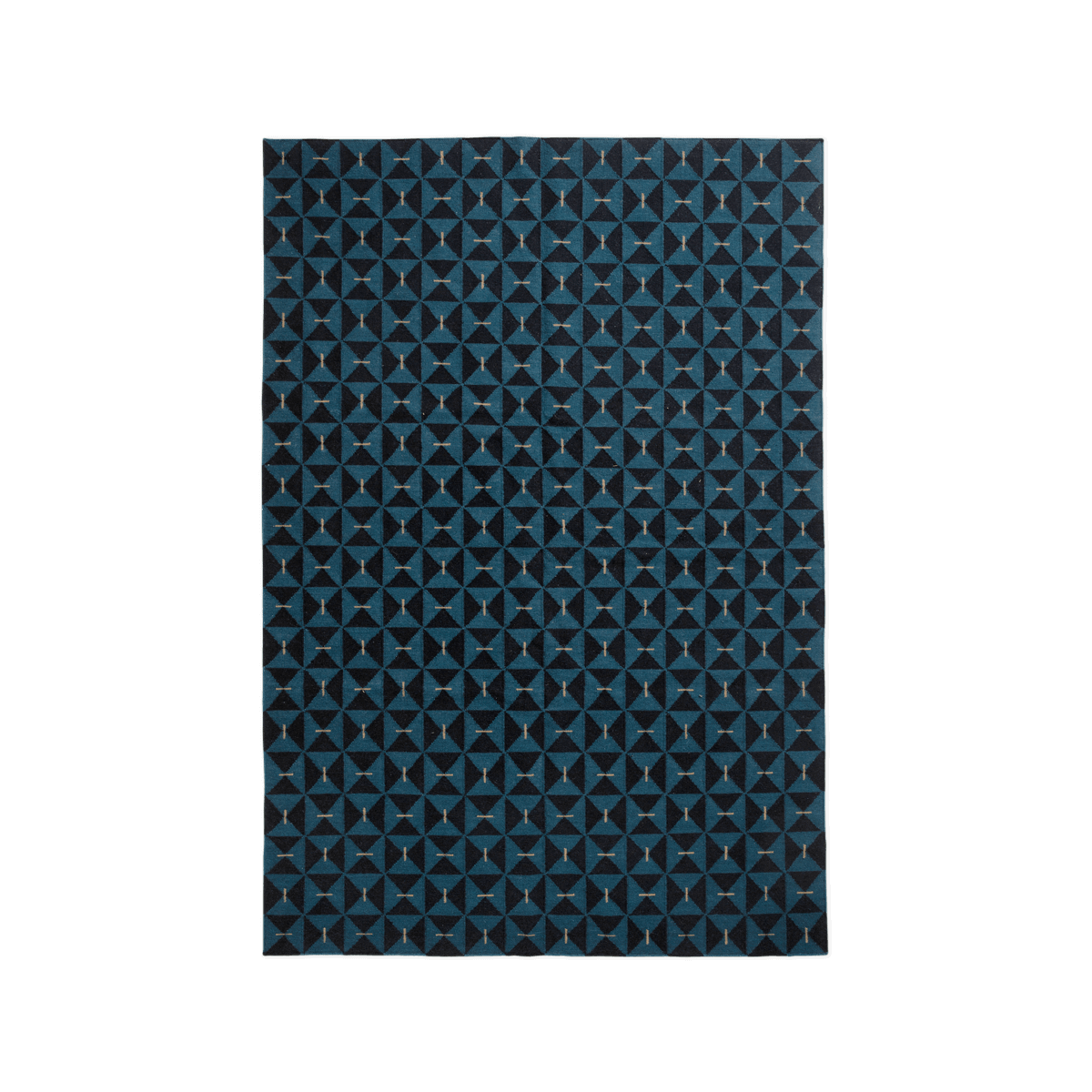 Product image of the flatweave rug Mosaik in the color Teal. The rug has a graphic and geometrical pattern across it.