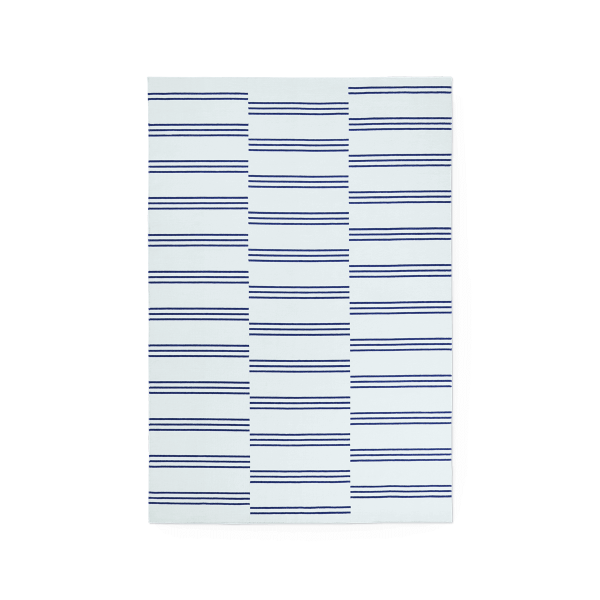 Product image of the flatweave rug Stripes in the color Blue. The rug itself is a light blue color with dark blue stripes creating a pattern.