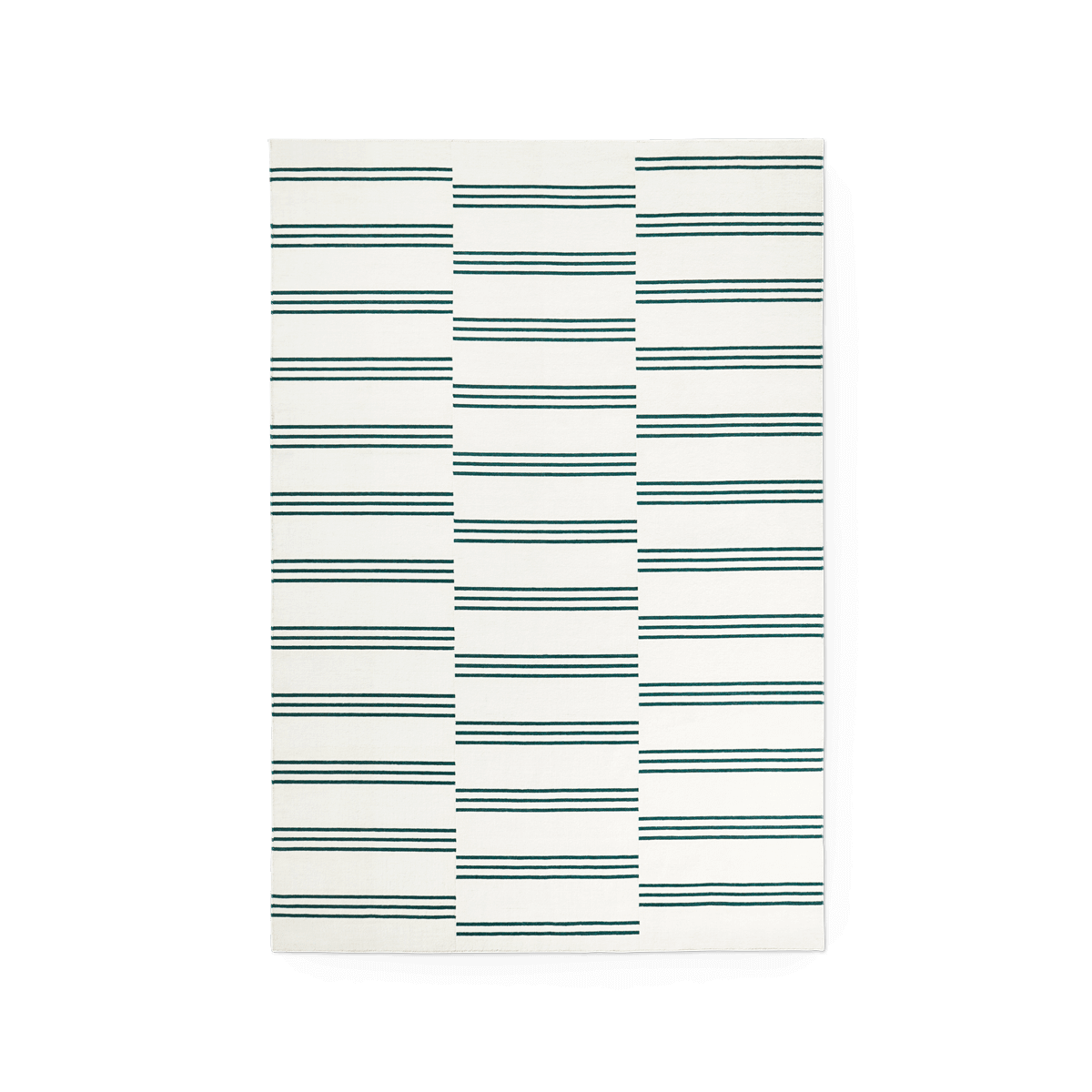 Product image of the flatweave rug Stripes in the color Green. The rug itself is a cream color with green stripes creating a pattern.