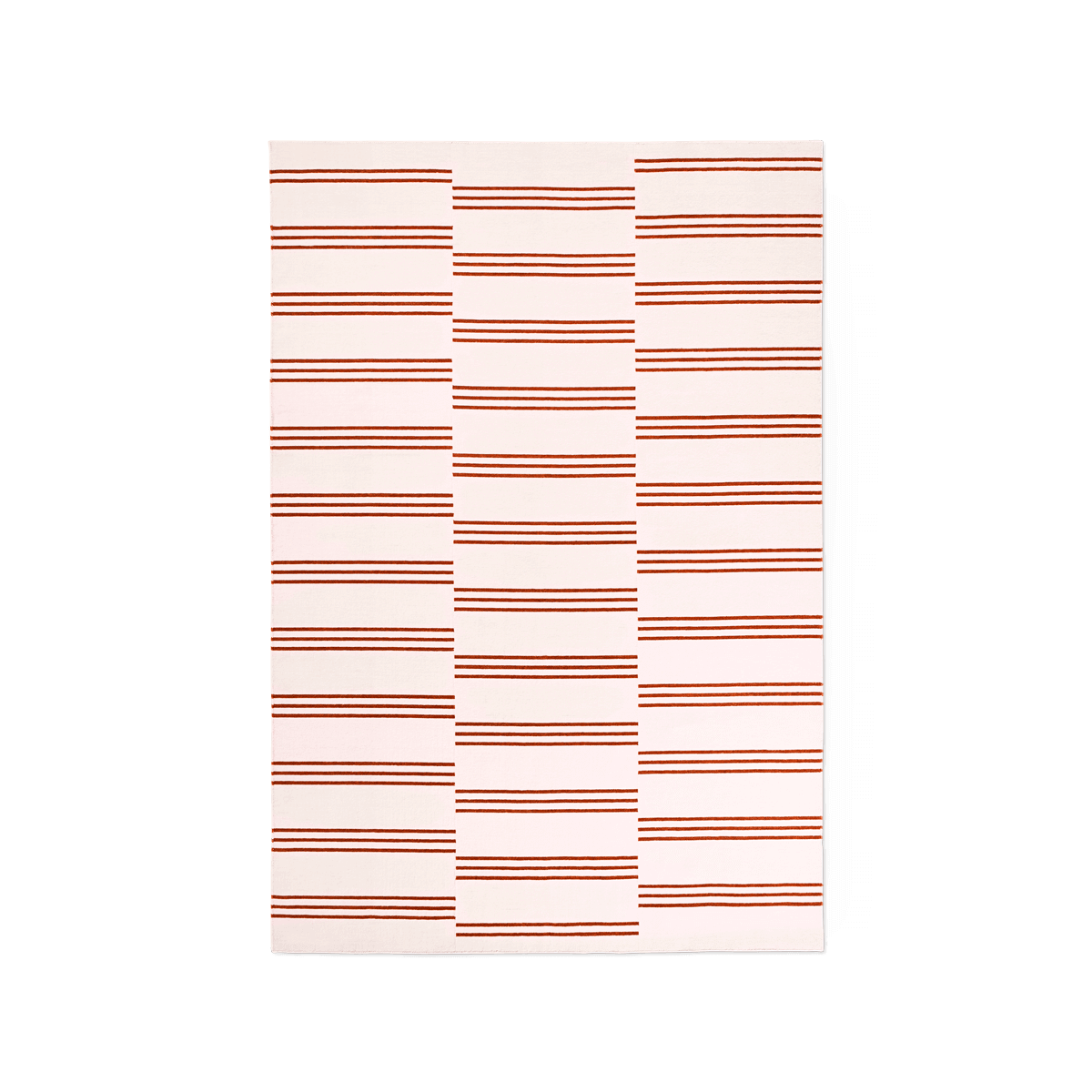 Product image of the flatweave rug Stripes in the color Pink. The rug itself is a pink color with red stripes creating a pattern.