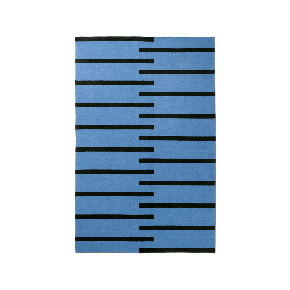 Product image of the flatweave rug Tiger in the color Blue. The rug has thick, graphic black lines as a pattern.