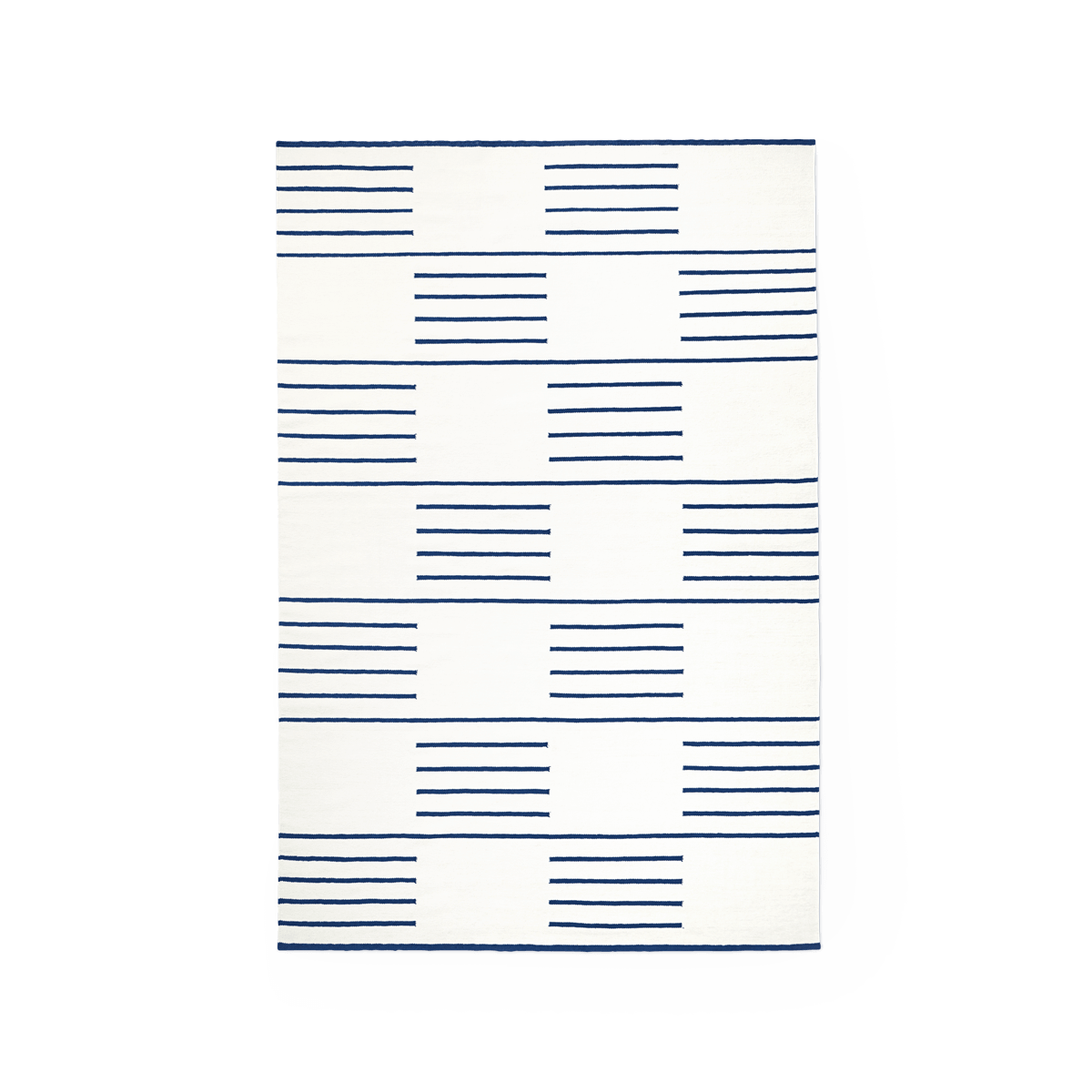 Product image of the flatweave rug Classic in the color Cream. On it is a pattern made out of stripes in a checkerboard fashion in a Blue color.