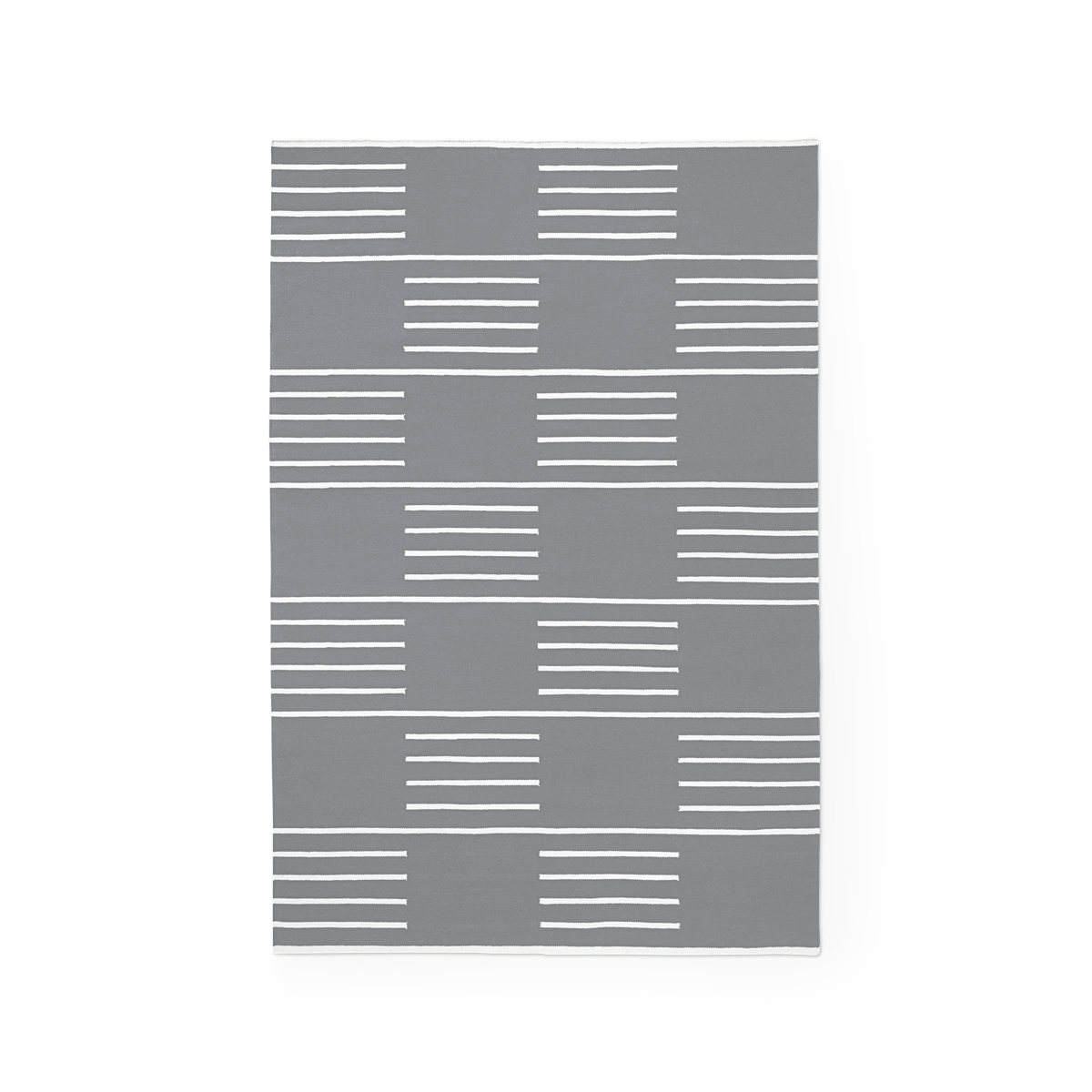 Product image of the flatweave rug Classic in the color Gray. On it is a pattern made out of stripes in a checkerboard fashion in a white color.