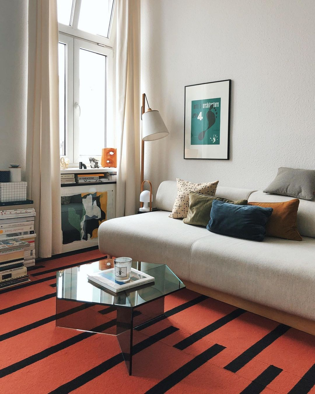 The Tiger rug in Red and Black in a modern and bright apartment.
