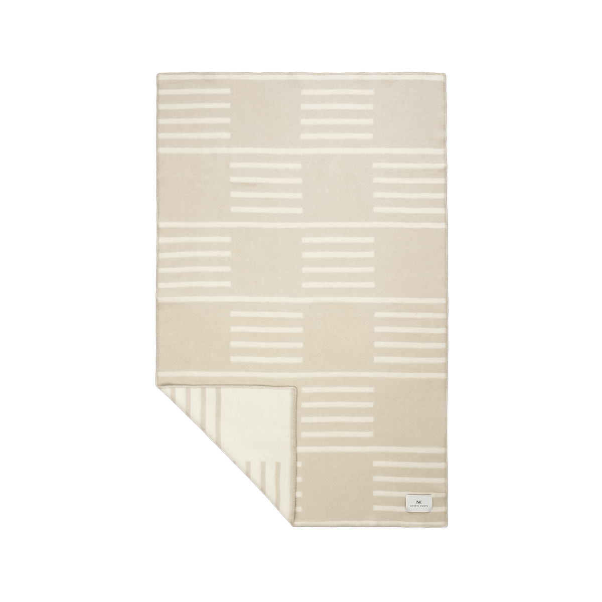 Product image of the wool blanket Classic in Sand with a light beige, striped pattern.