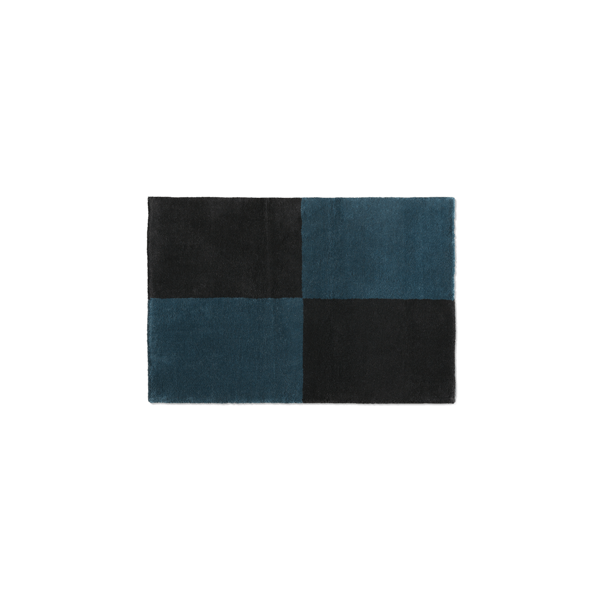 Plush doormat in the color Teal and Black. The rug is divided into four squares.