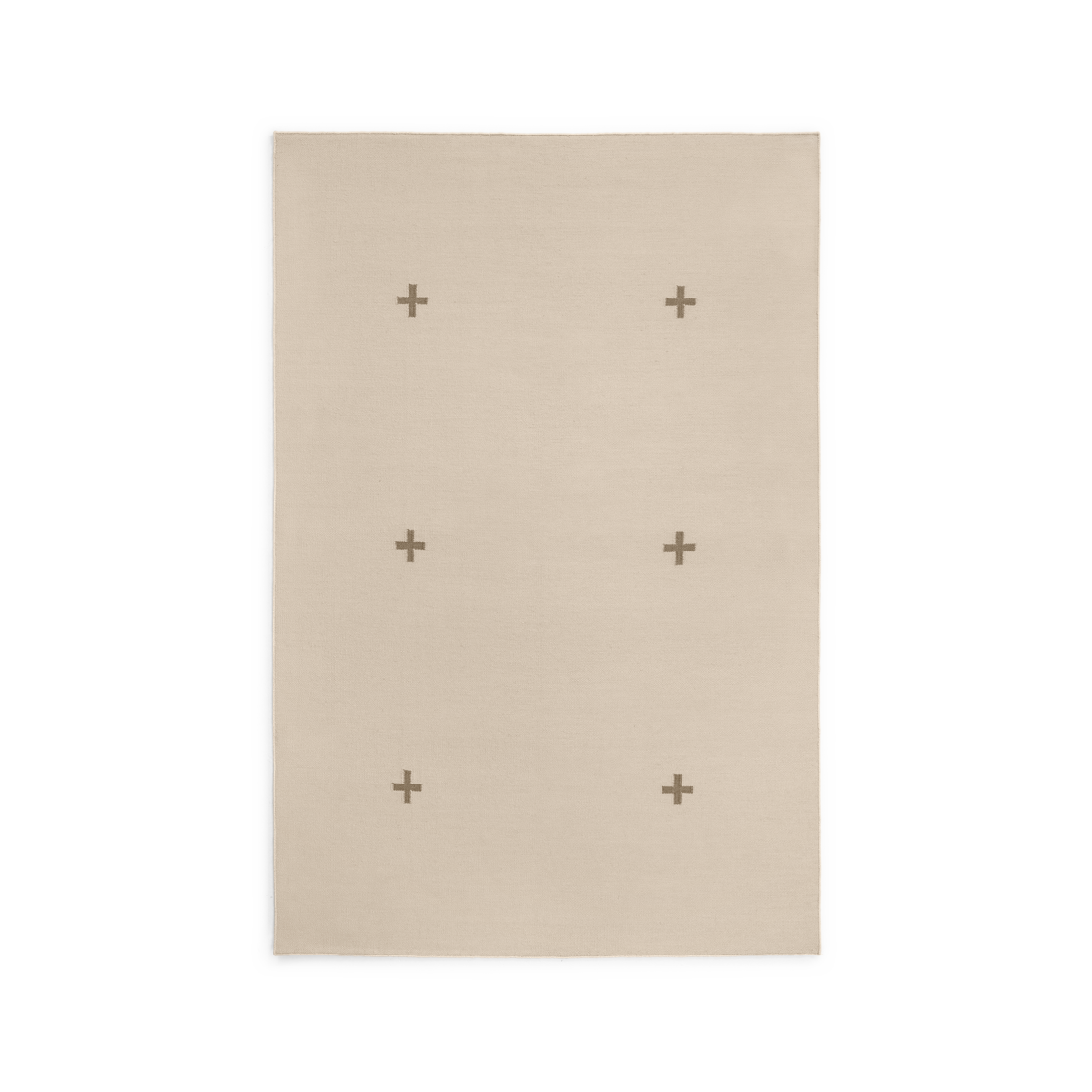 Product image of the flatweave rug Plus in the color Sand. The rug itself is a sand color with a graphic plus-sign pattern in a darker shade.