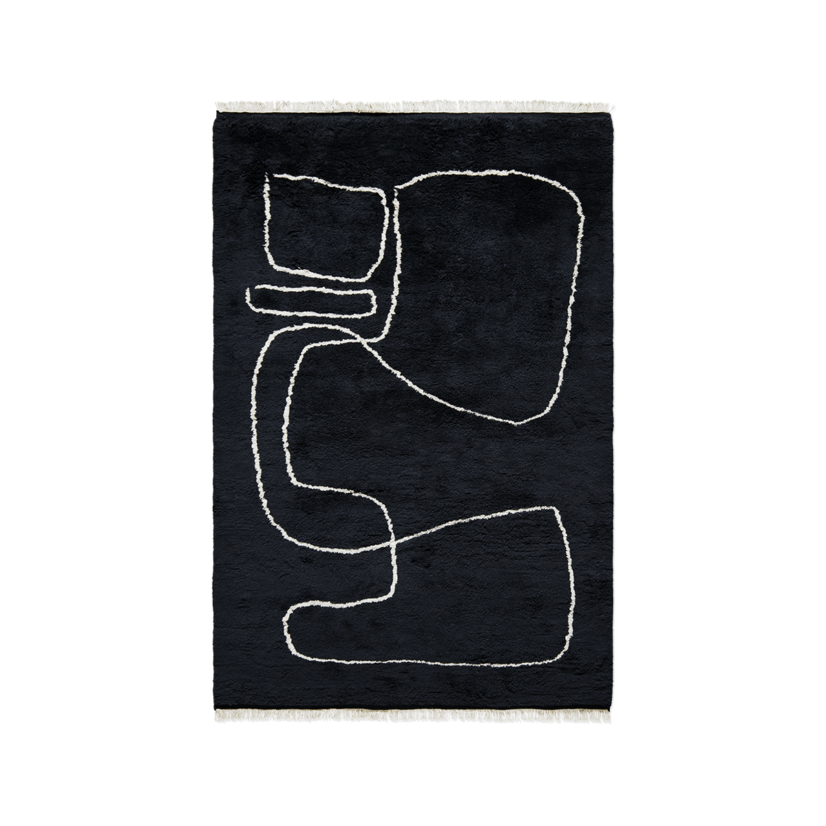 Product image of the shaggy rug Connection in Black. On it is a white line creating an organic pattern.