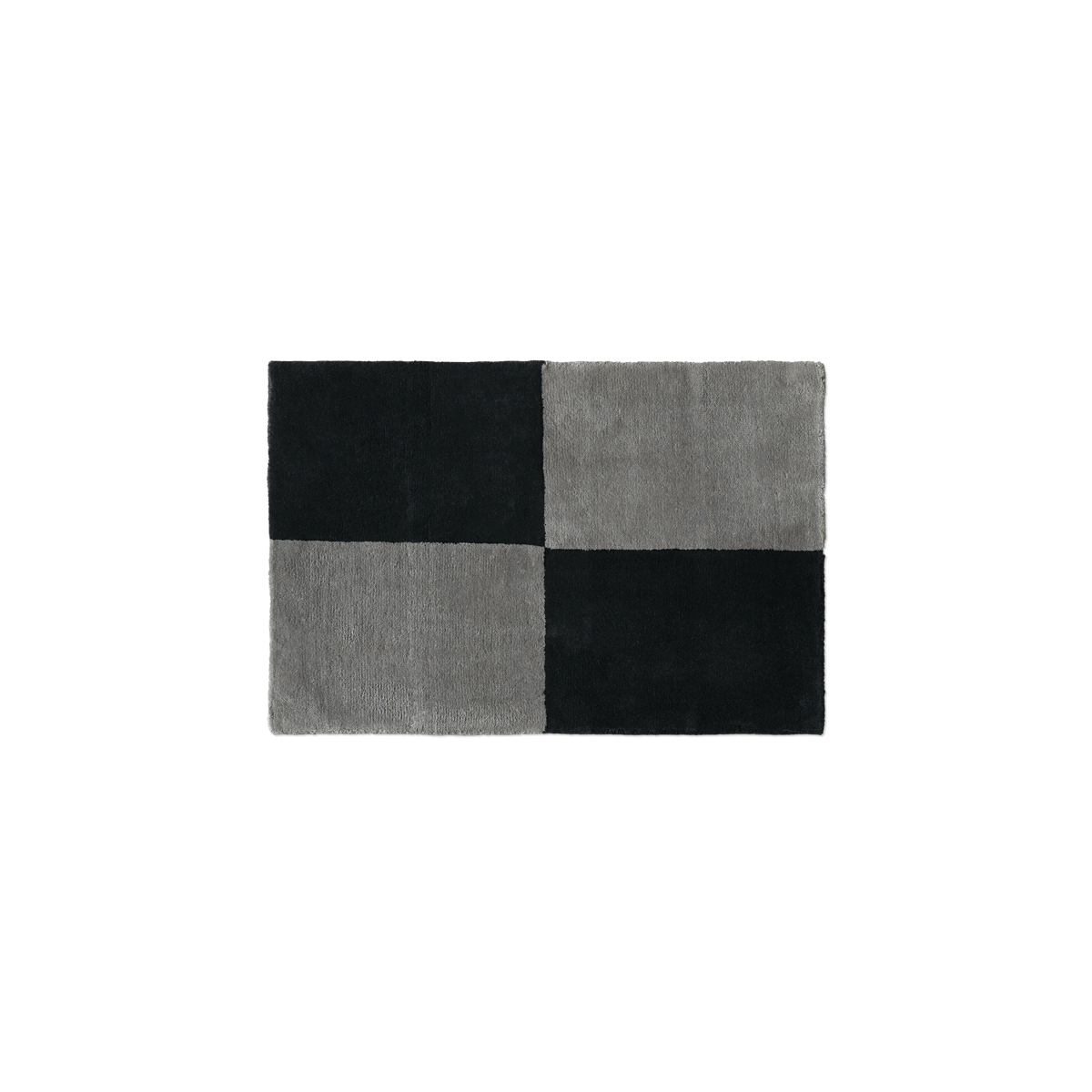 Plush doormat in the color Gray and Black. The rug is divided into four squares.