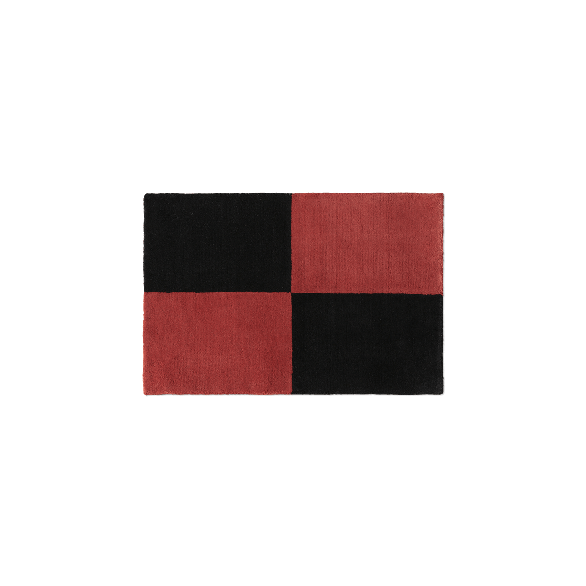 Plush doormat in the color Red and Black. The rug is divided into four squares.