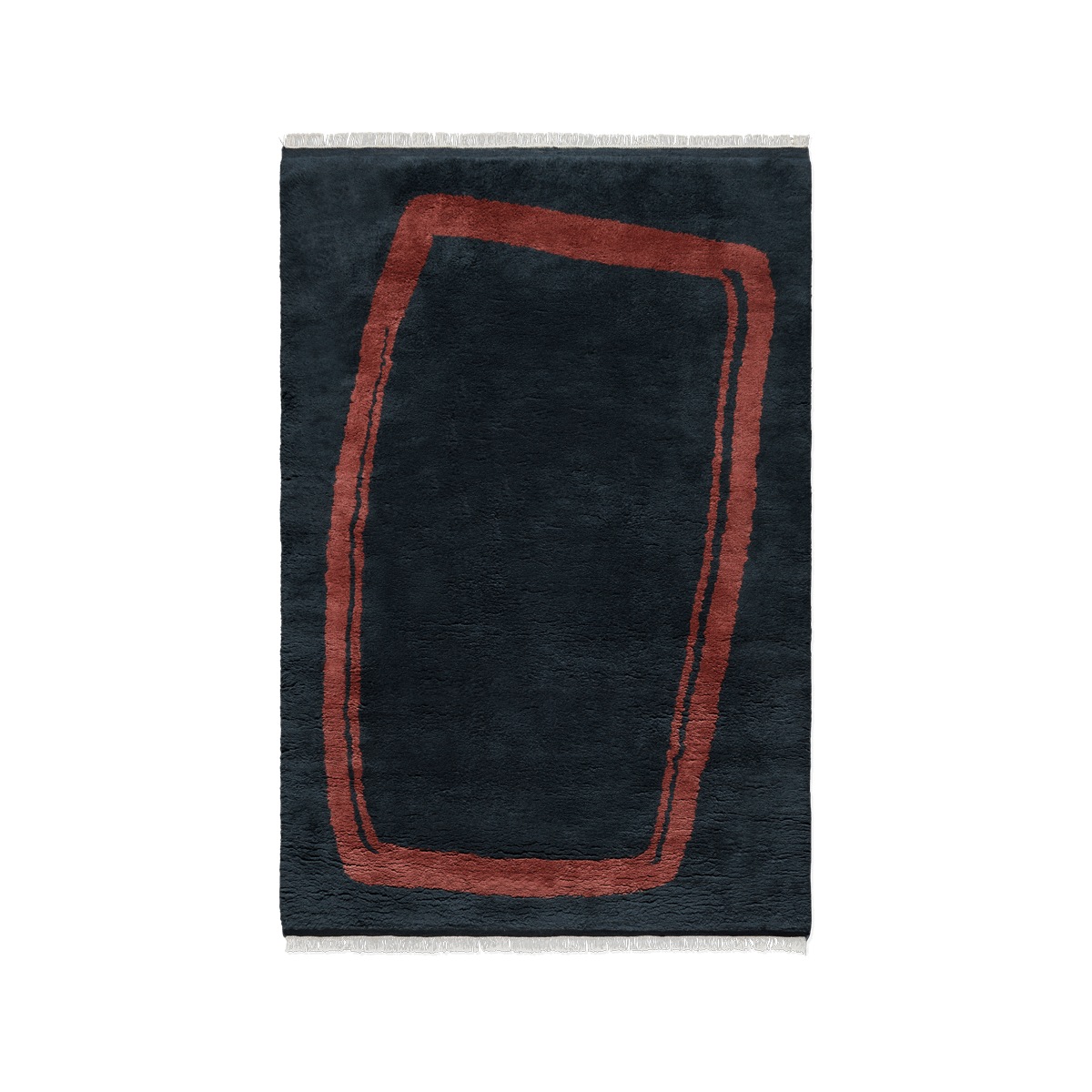 Product image of the shaggy rug Simple Objects 11 in Dark Blue. The rug has an uneven shape across it in a red color.