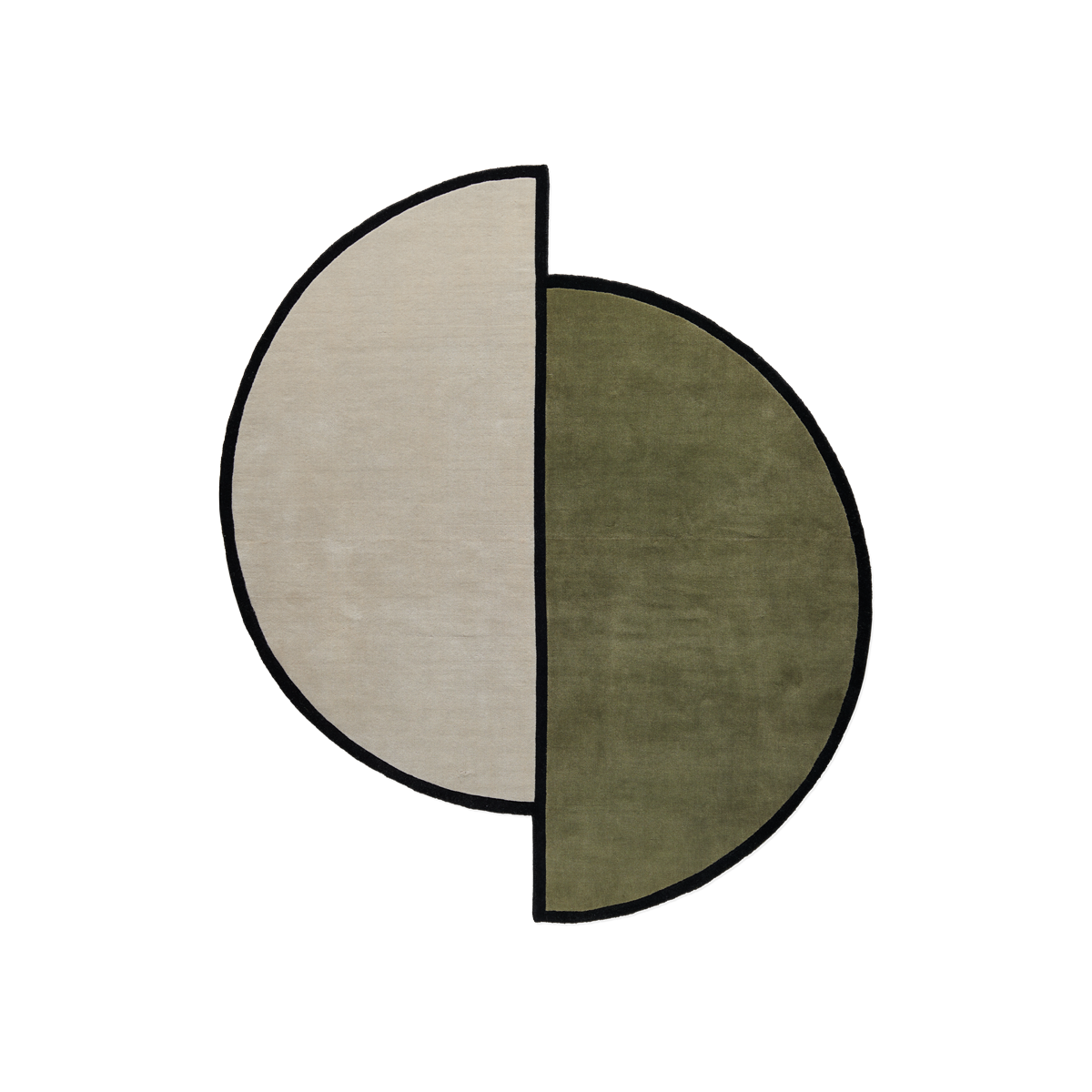 Product image of the plush rug AML 03. The rug is two half circles connecting, one is green and one is cream colored. They both have a black thick border all around.