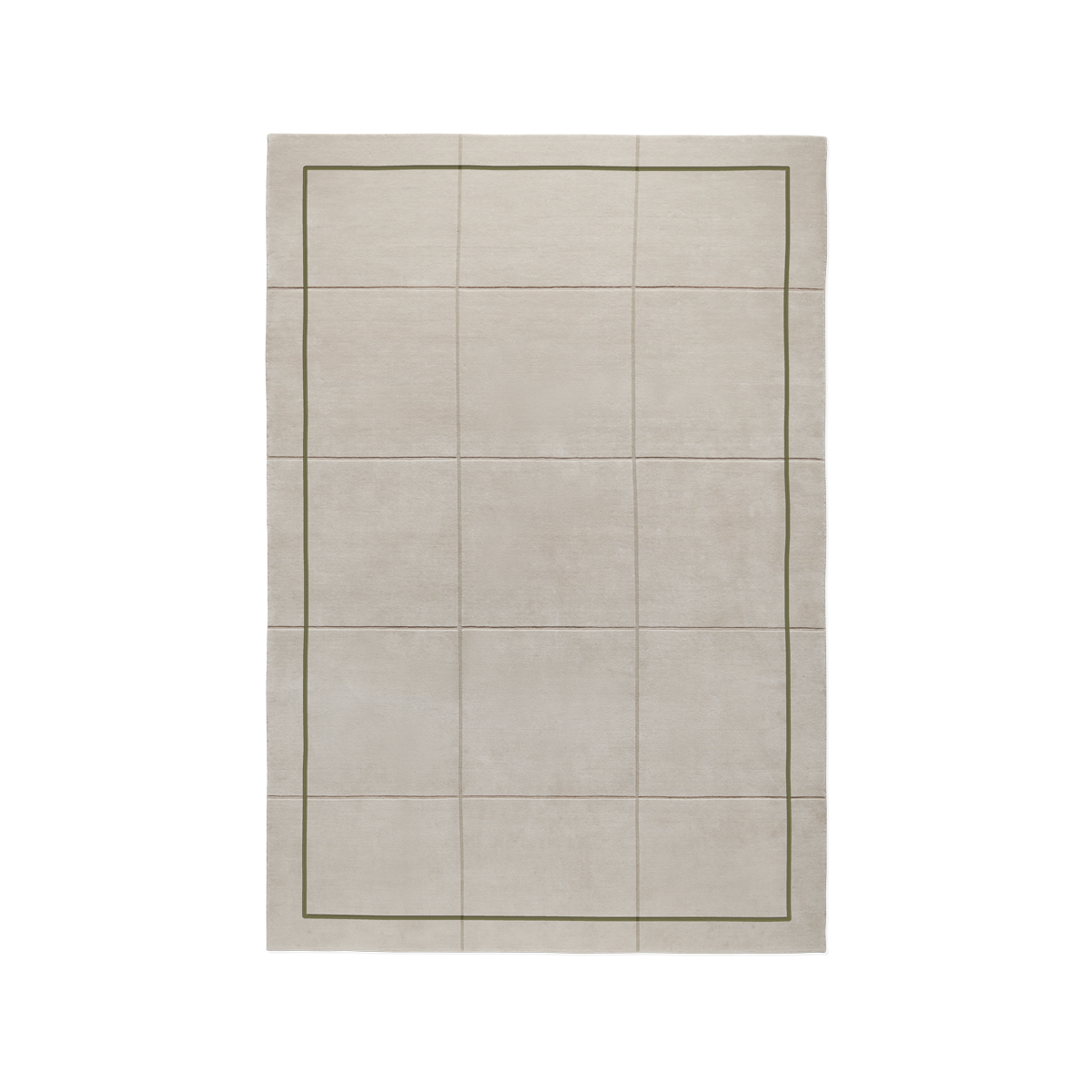 Product image of the plush rug AML 02. The rug is a cream color with a green, thin frame. There is also a square pattern created from cutting the pile shorter.