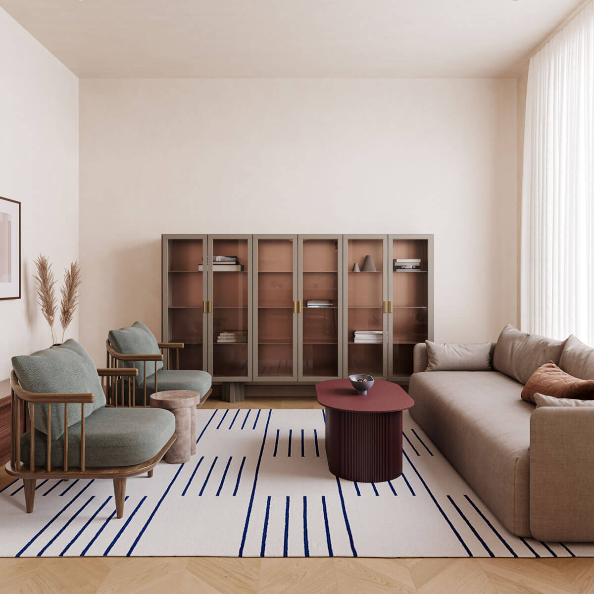 Flatweave rug Classic in Cream shown in nicely decorated living room.