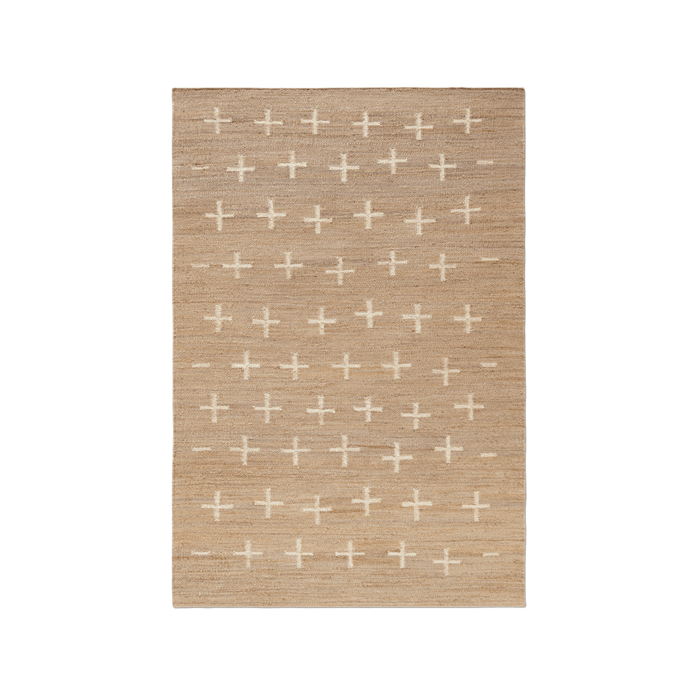 Product image of Jute Cross Cream, a jute rug with crosses spread unevenly across the rug.