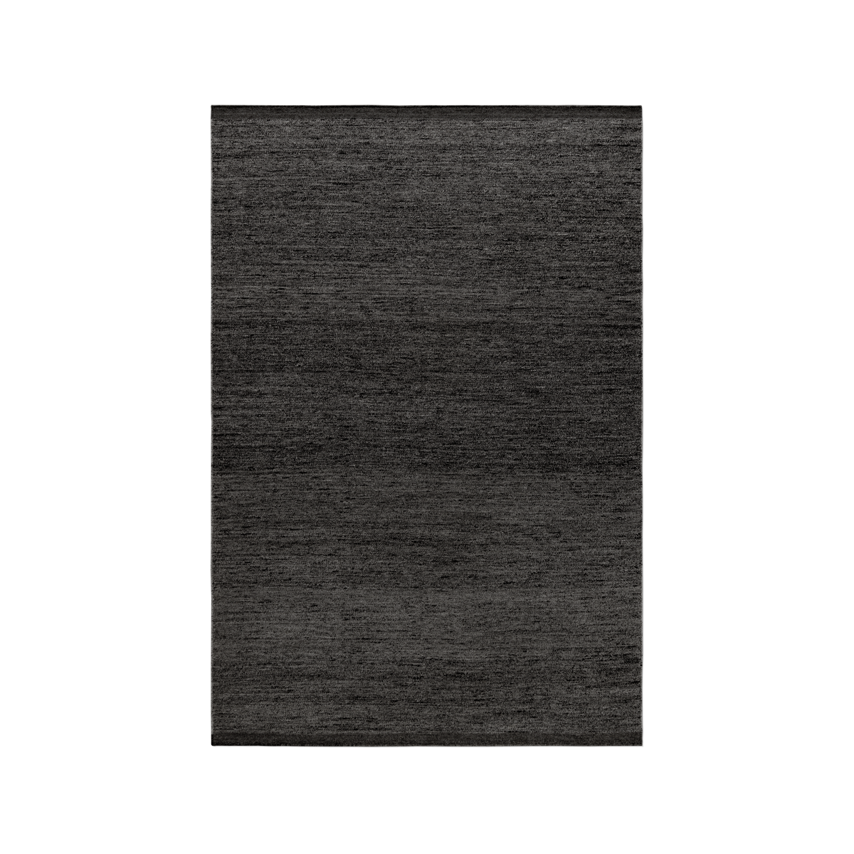 Product image of the flatweave rug Zero in color Anthracite Mix. The rug has two darker borders at the short sides.