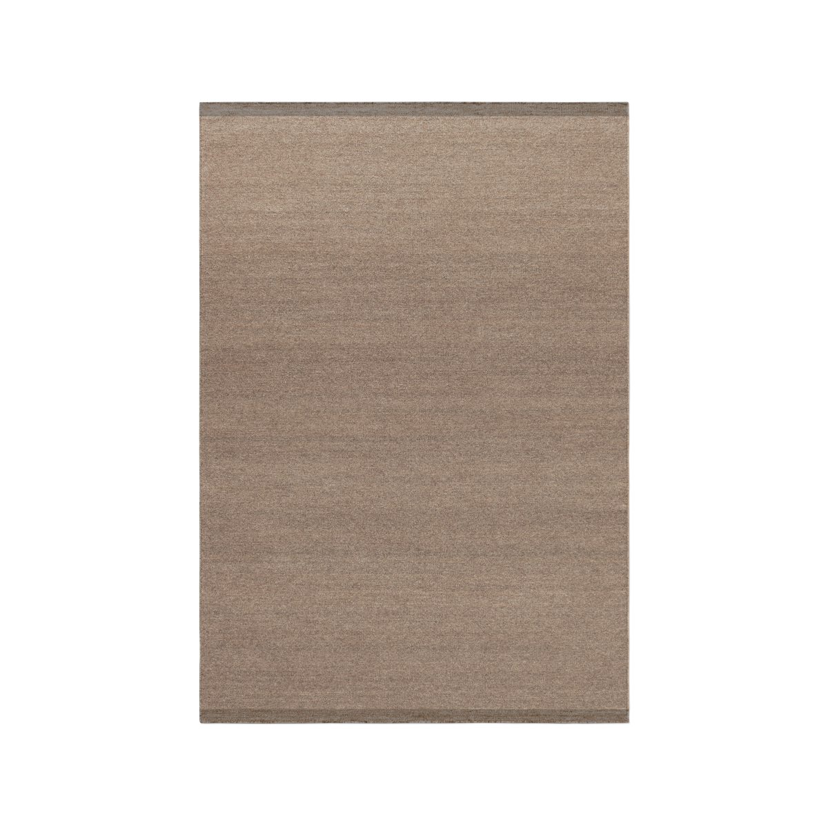 Product image of the flatweave rug Zero in color Brown. The rug has two darker borders at the short sides.