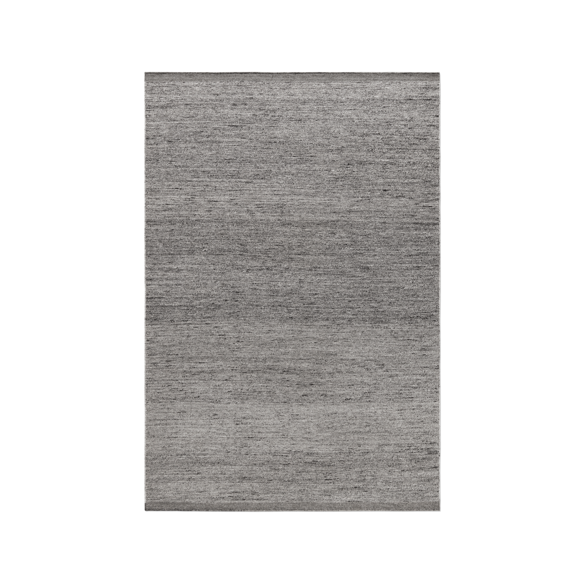 Product image of the flatweave rug Zero in color Gray Mix. The rug has two darker borders at the short sides.
