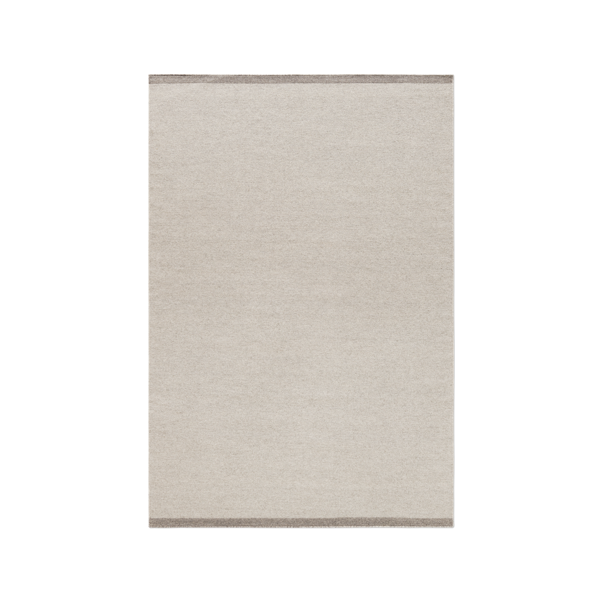 Product image of the flatweave rug Zero in color Warm Gray. The rug has two darker borders at the short sides.