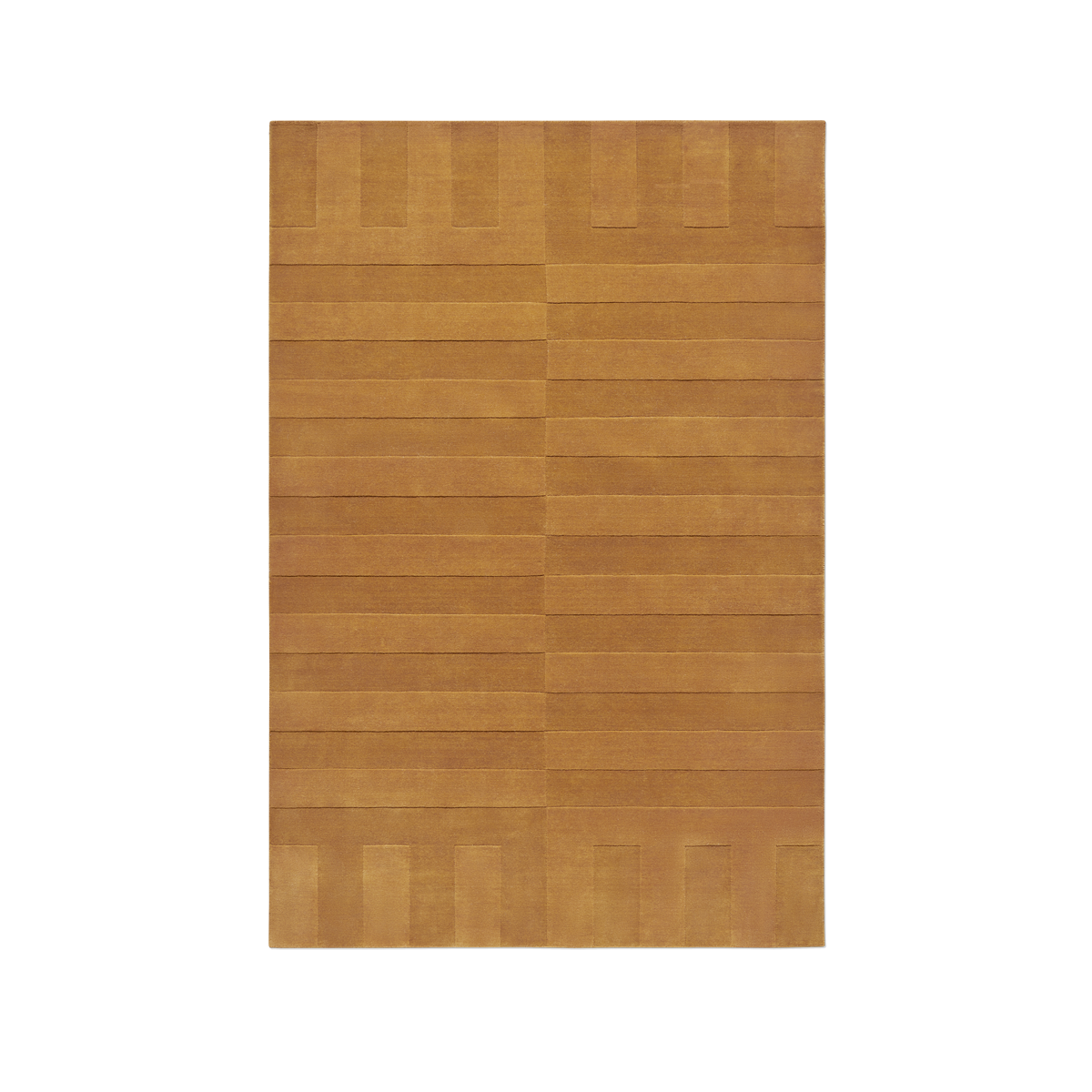 Product image of the plush rug Lux 2 in the color Leo . The pile of the rug is cut in different heights creating a blocky pattern across the rug.