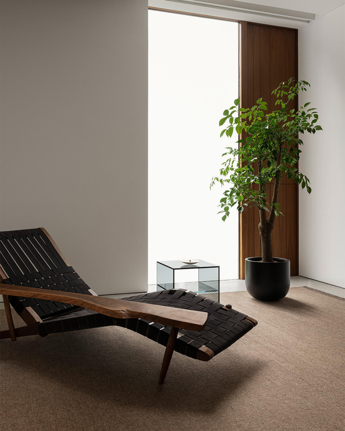 Zero in color Brown displayed in a sunny room together with a potted tree and a beautiful chaise.