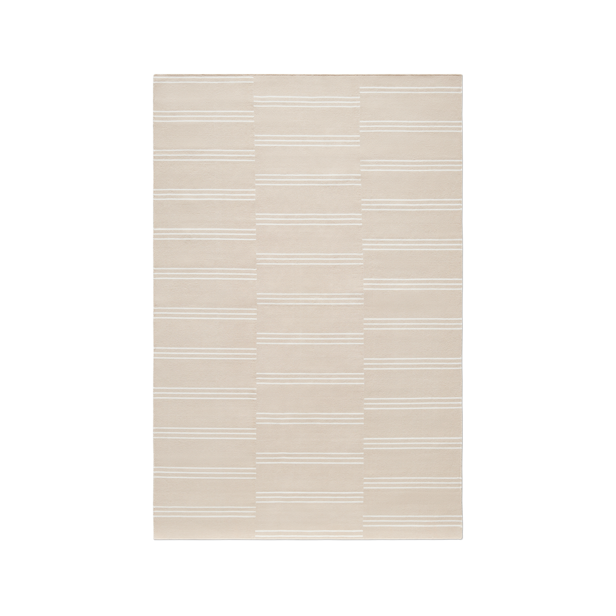 Product image of the flatweave rug Stripes in the color Sand. The rug itself is a light blue color with white stripes creating a pattern.