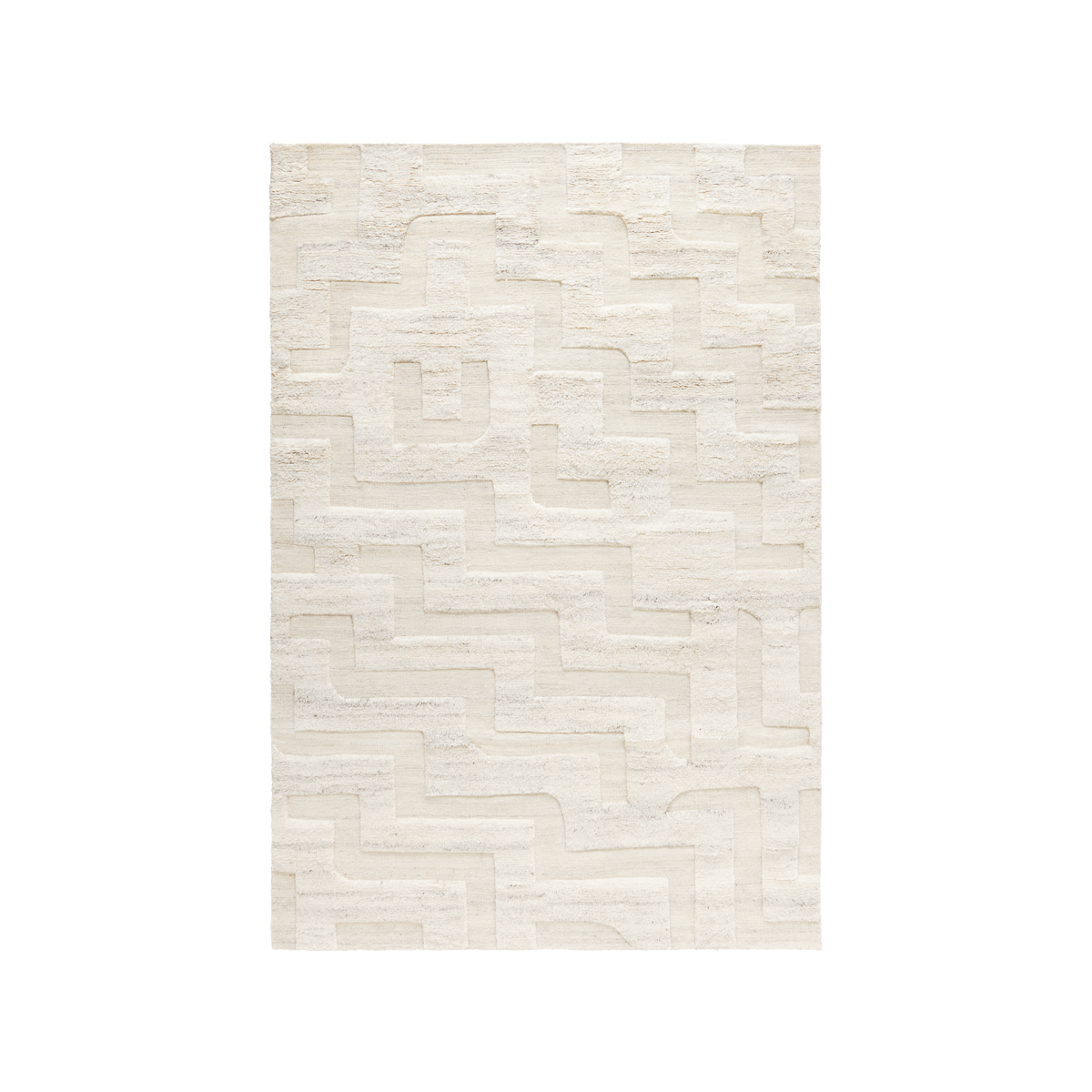 Product image of the shaggy rug Boho in the color Cream Mix. The rug has a graphic pattern where the pattern is flatweave and the base is shaggy wool.