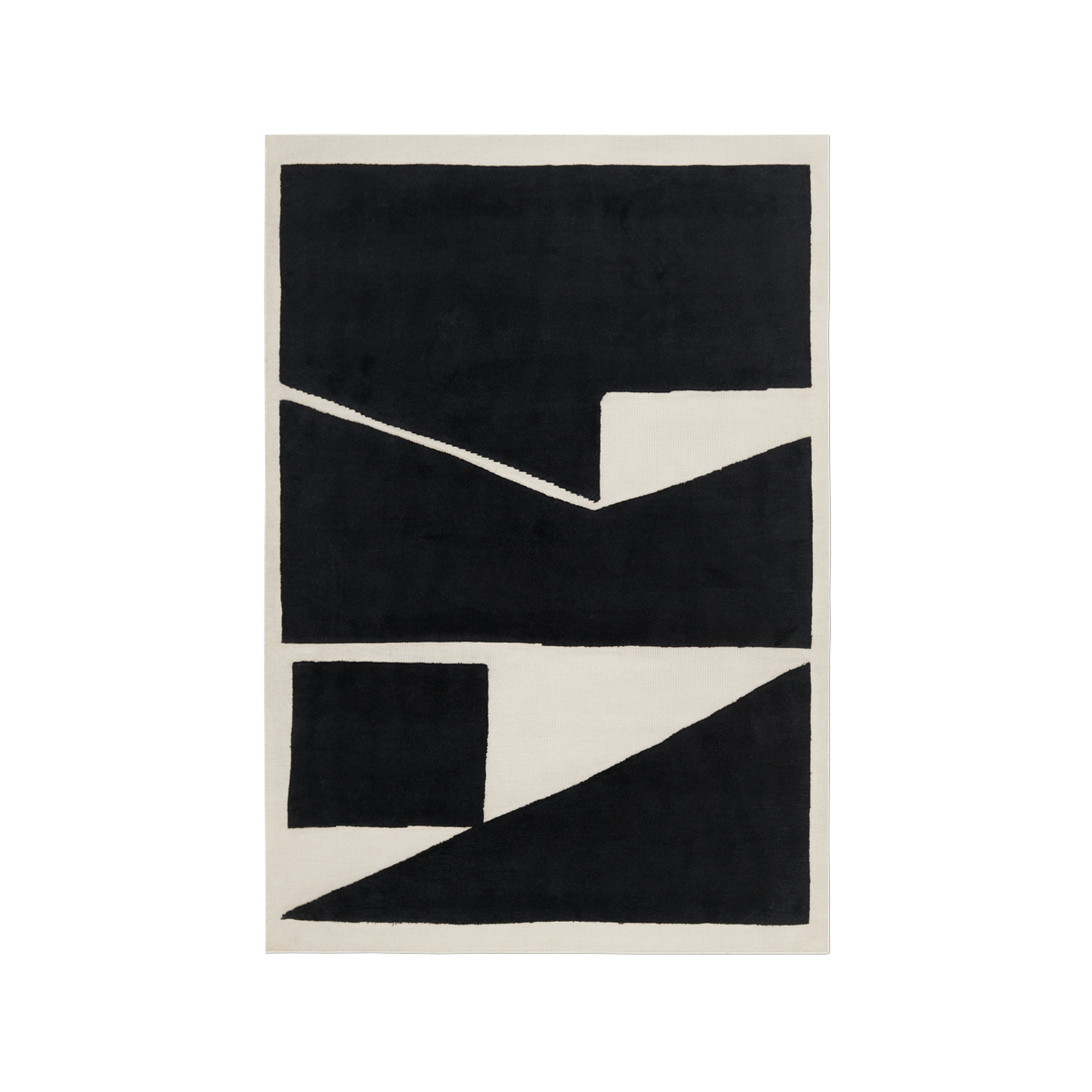 Product image of the flatweave and shaggy rug Untitled 1 om Dusty White and Black.