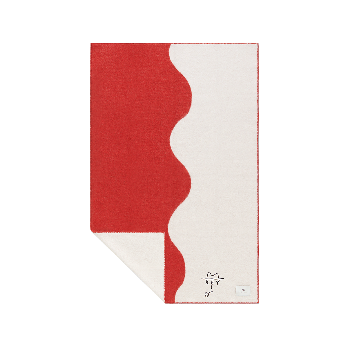 Product image of wool blanket El Rey, in the colors red and cream with a wavy divider down the middle.