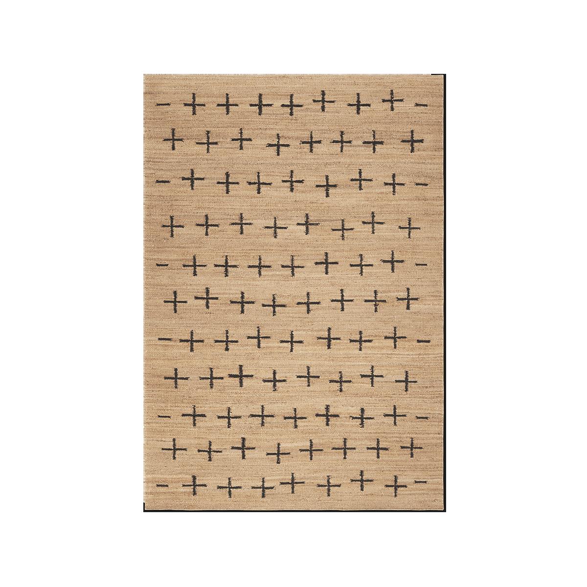 Product image of Jute Cross Black, a jute rug with black crosses spread across it.