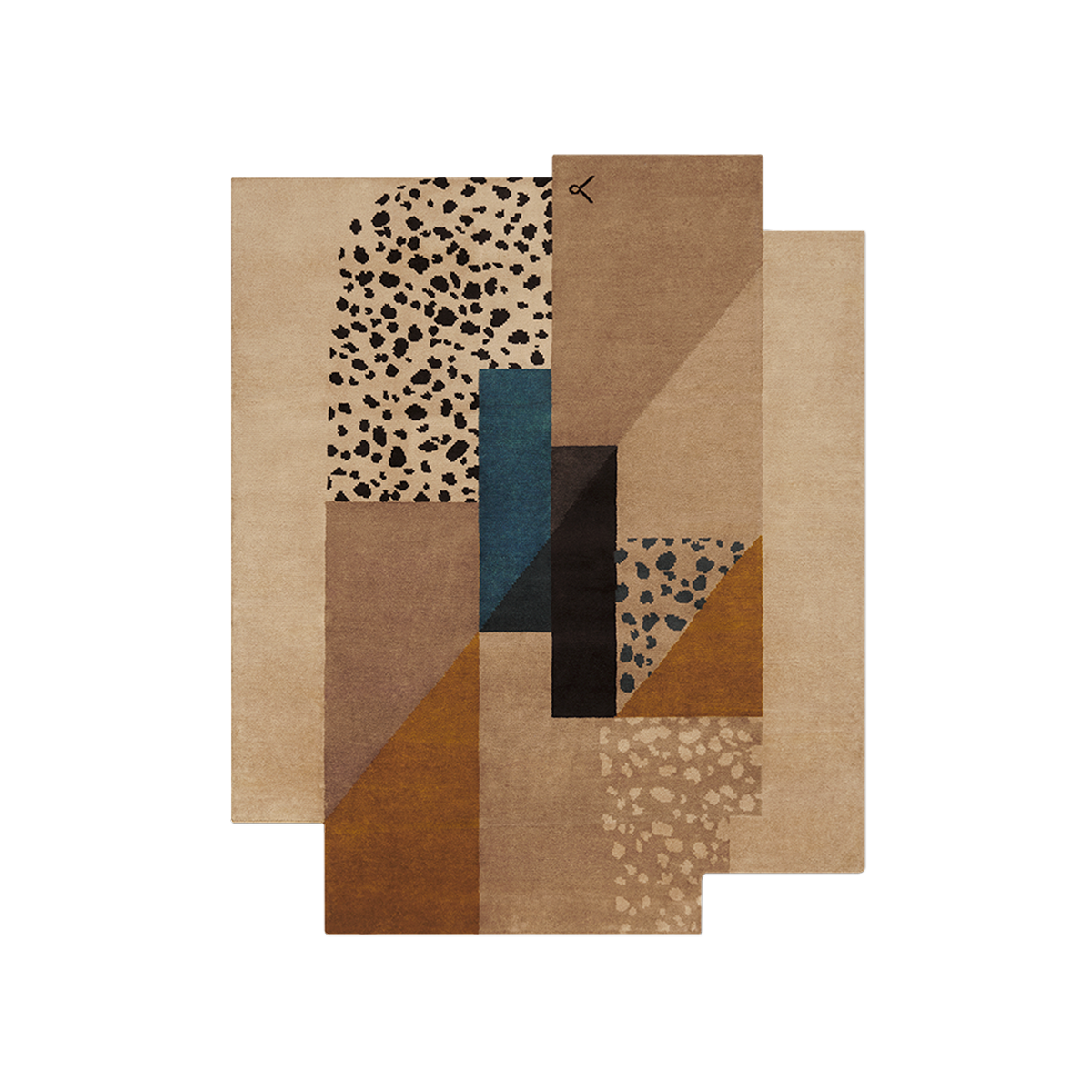 Product Image of Art Deco Brown hand knotted wool rug.