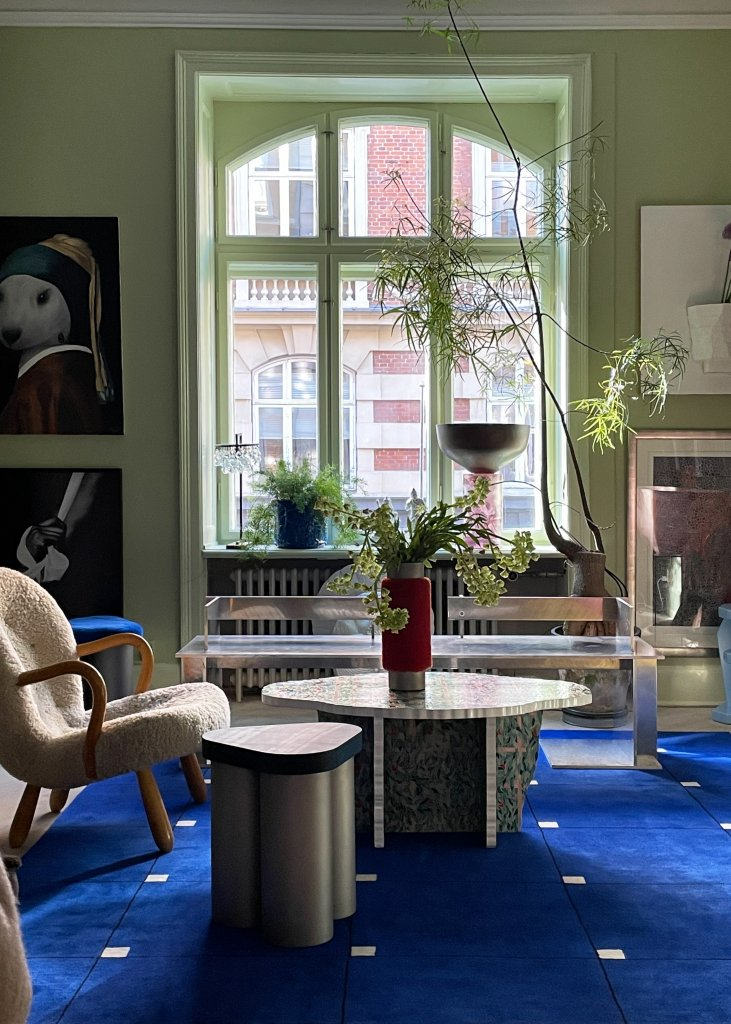 Modern in color Tableau Blue displayed in the colorful and creative Copenhagen home of Julius Værnes Iversen.