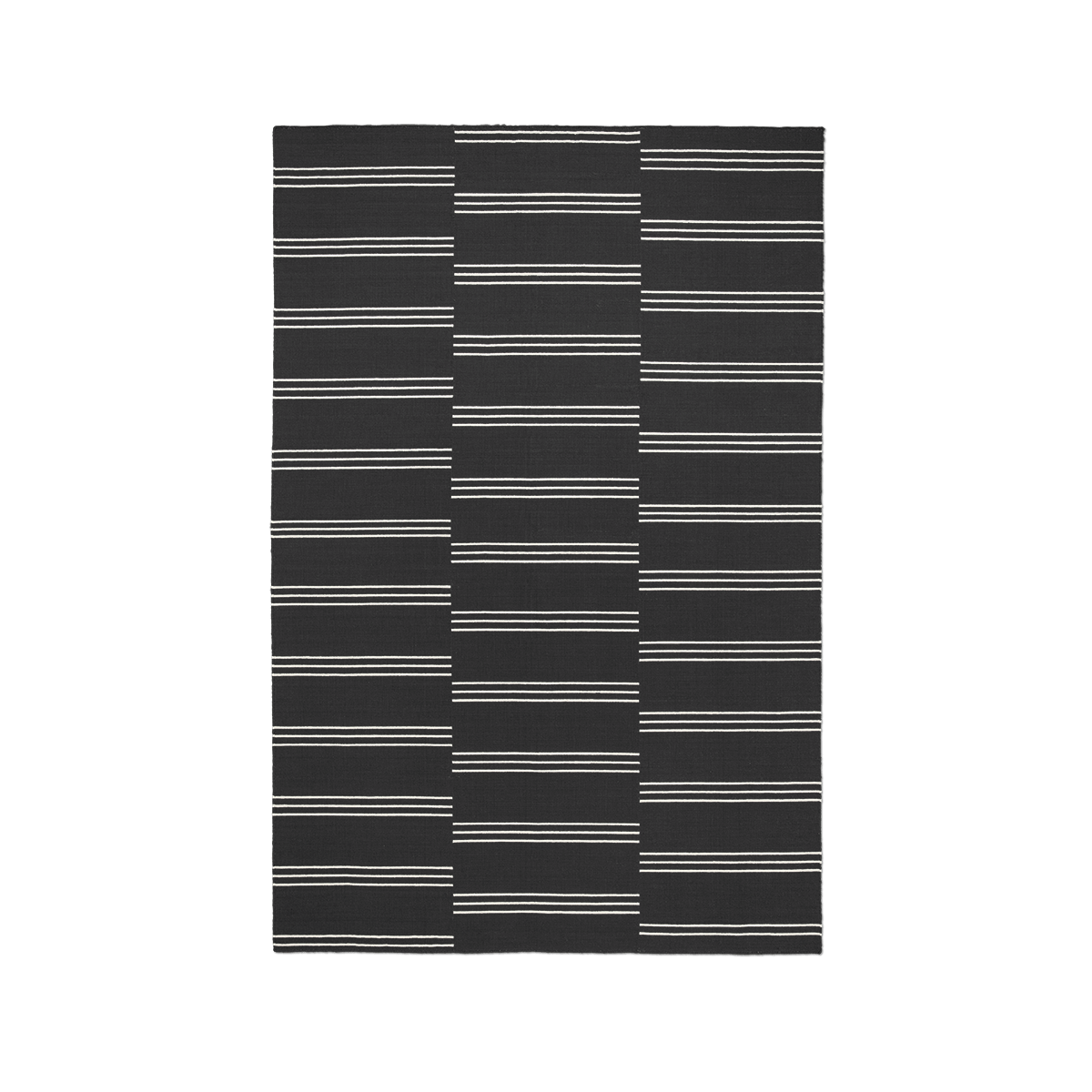 Product image of flatweave rug Stripes in color Anthracite and Cream.
