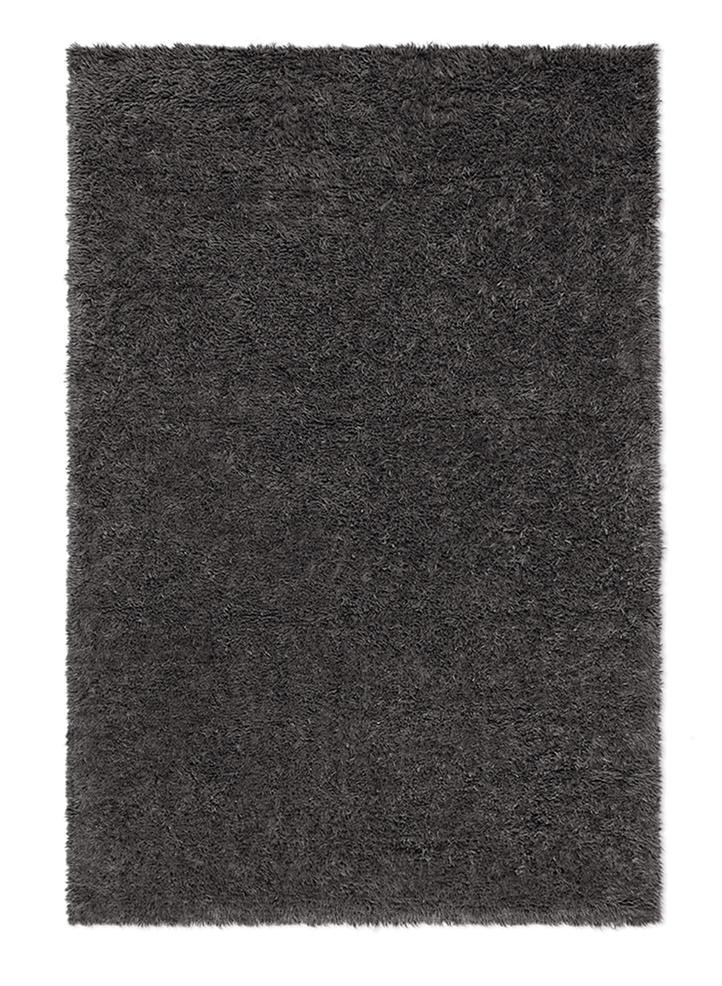 Campaign page. Product image of dark gray, shaggy wool rug Fields.