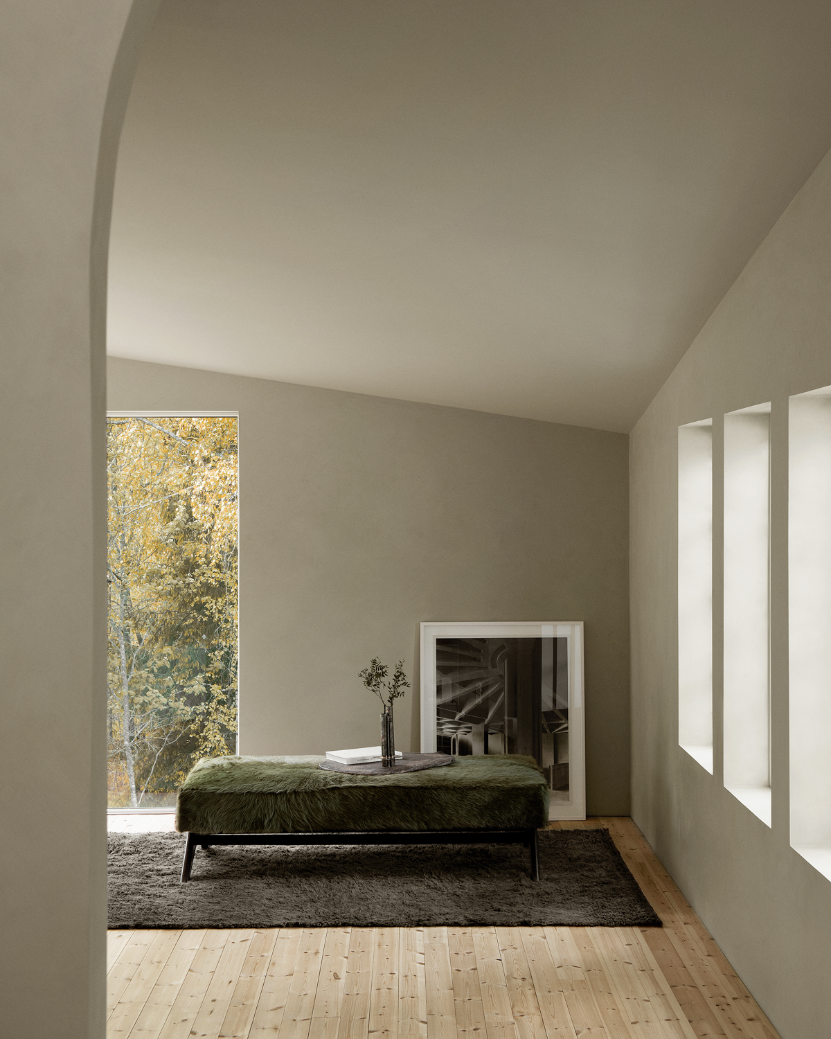 Fields in anthracite in a beautiful room with large windows overlooking the woods.