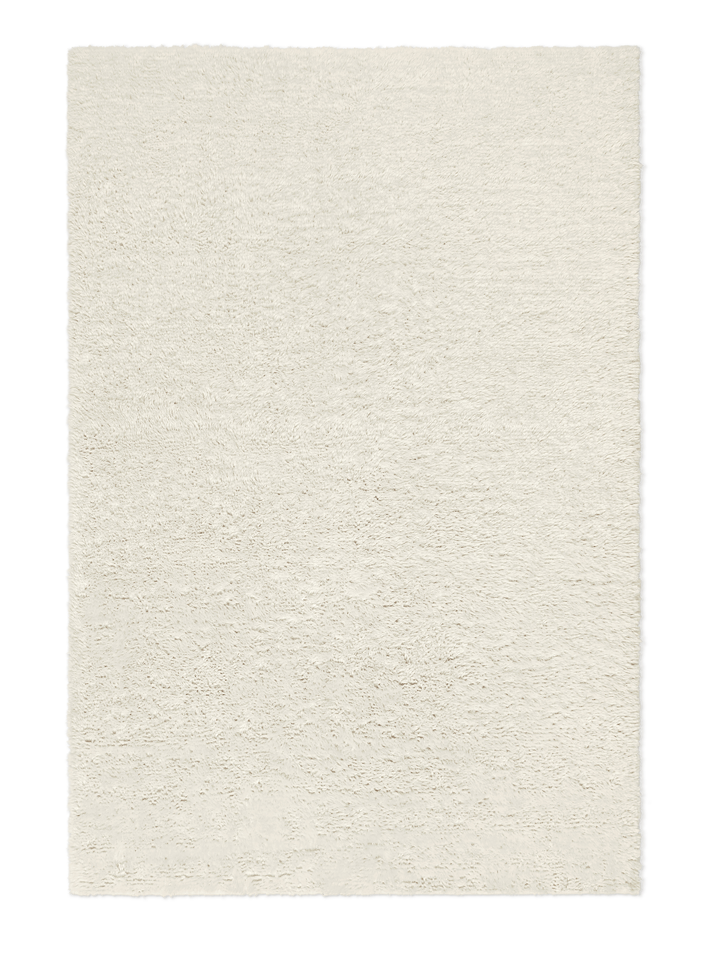 Campaign page. Product image of white, shaggy wool rug Fields.
